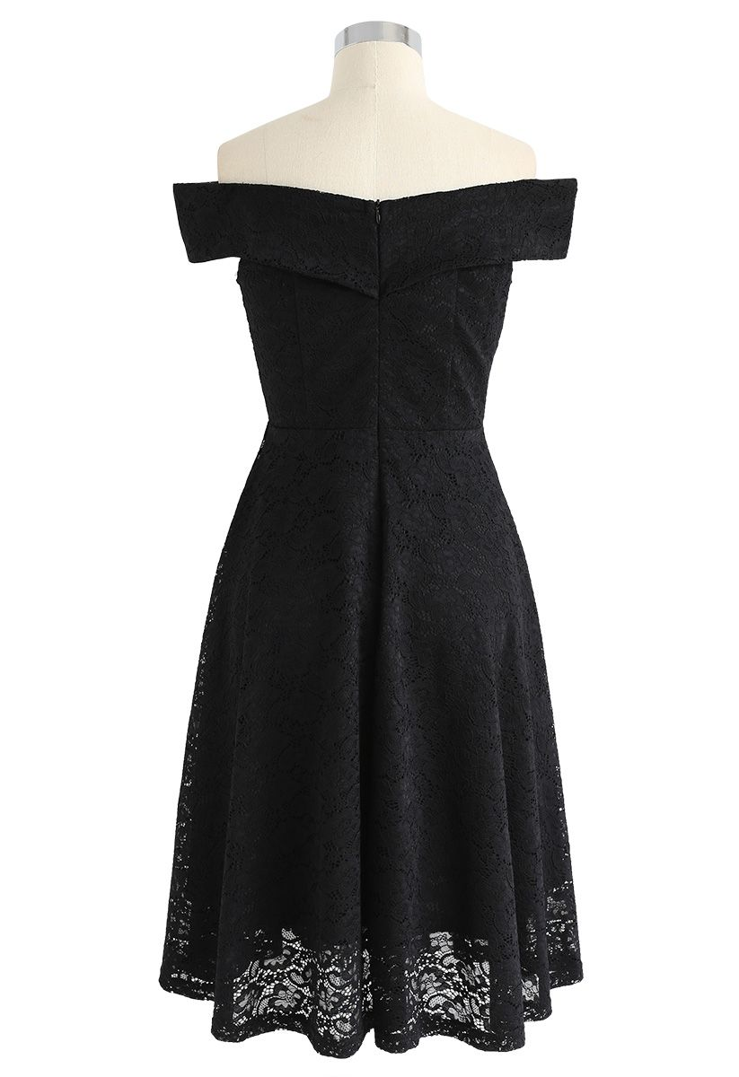 The Way You Are Off-Shoulder Lace Dress in Black