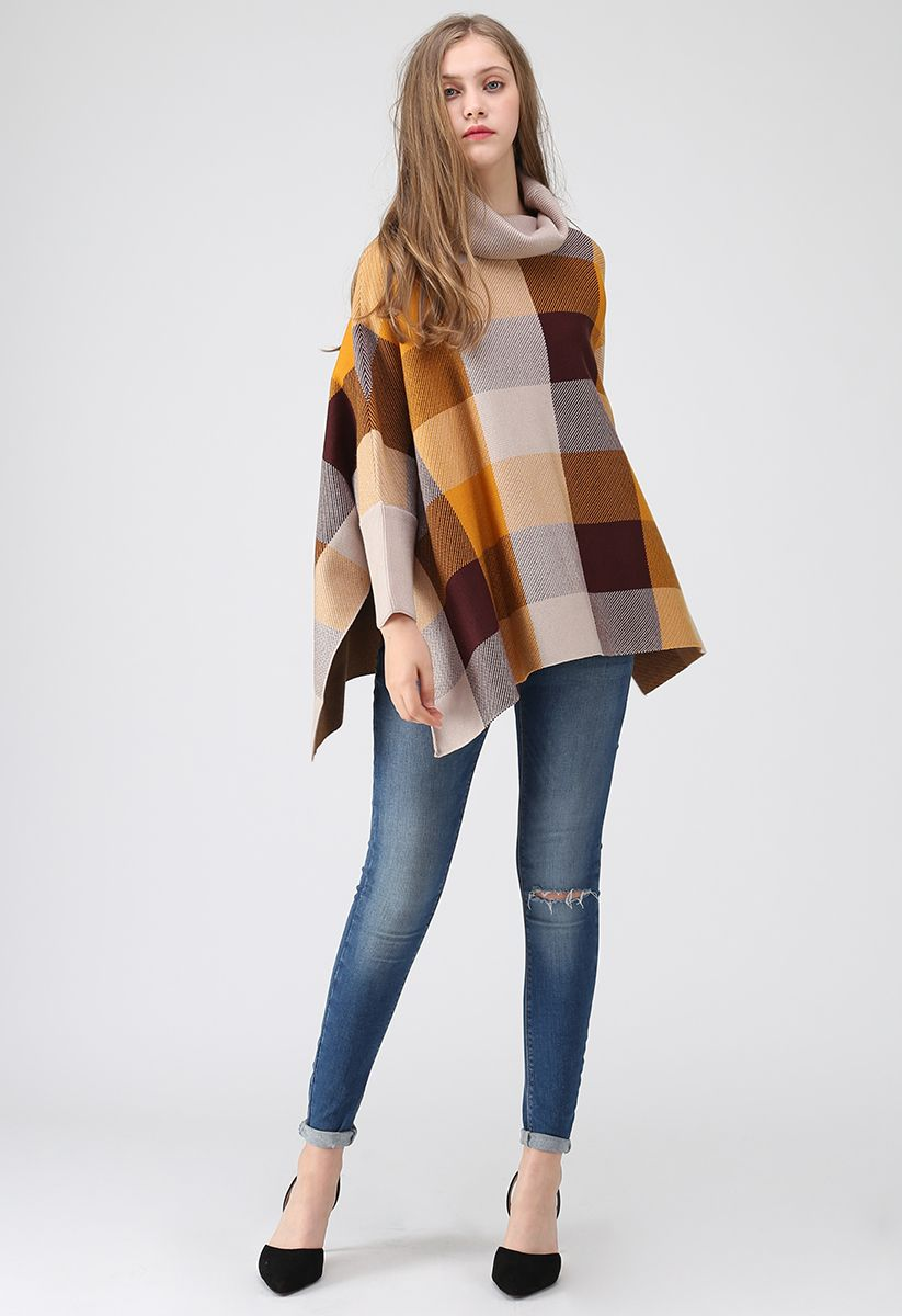 Lie in Check Fields Turtleneck Cape Sweater in Mustard