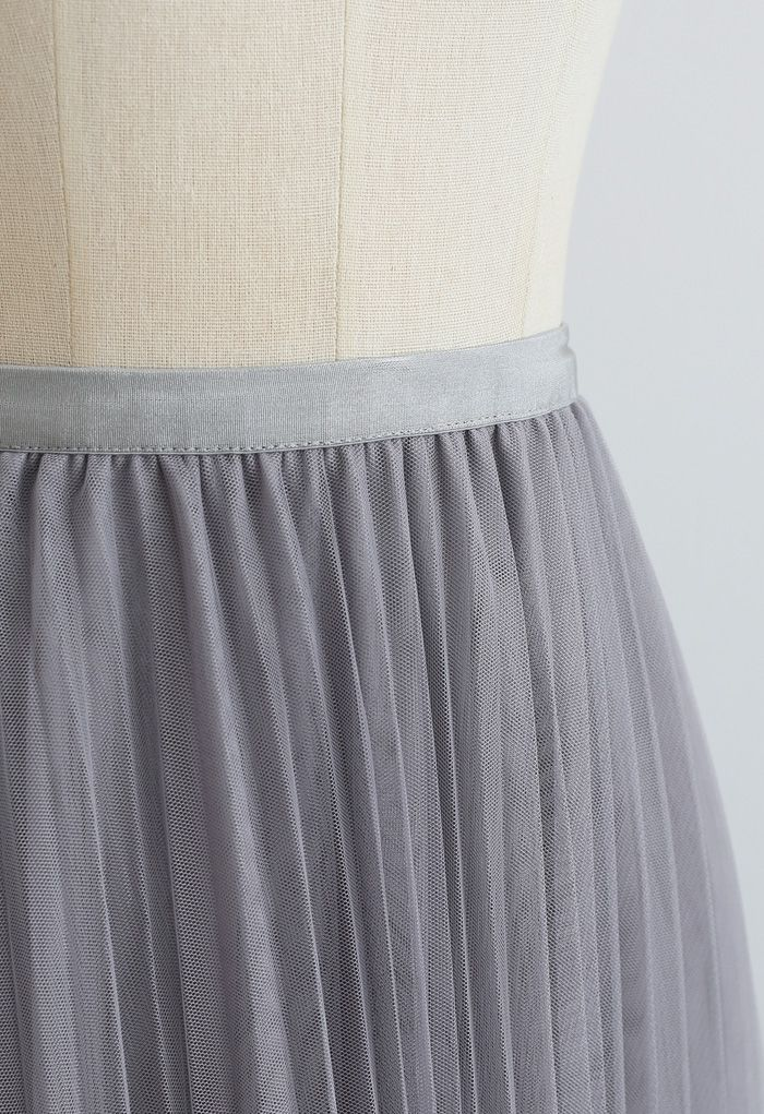 Call out Your Name Pleated Mesh Skirt in Dusty Blue