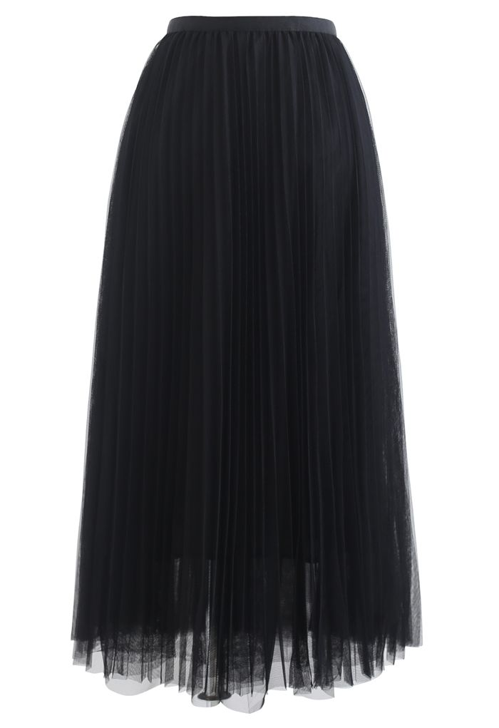 Call out Your Name Pleated Mesh Skirt in Black