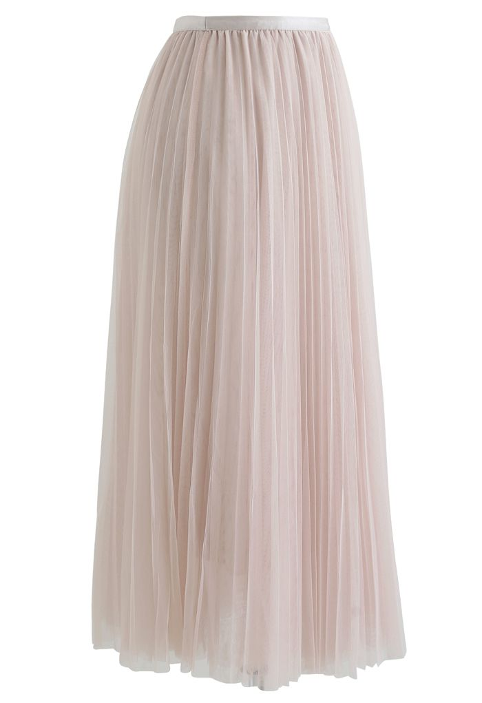 Call out Your Name Pleated Mesh Skirt in Cream