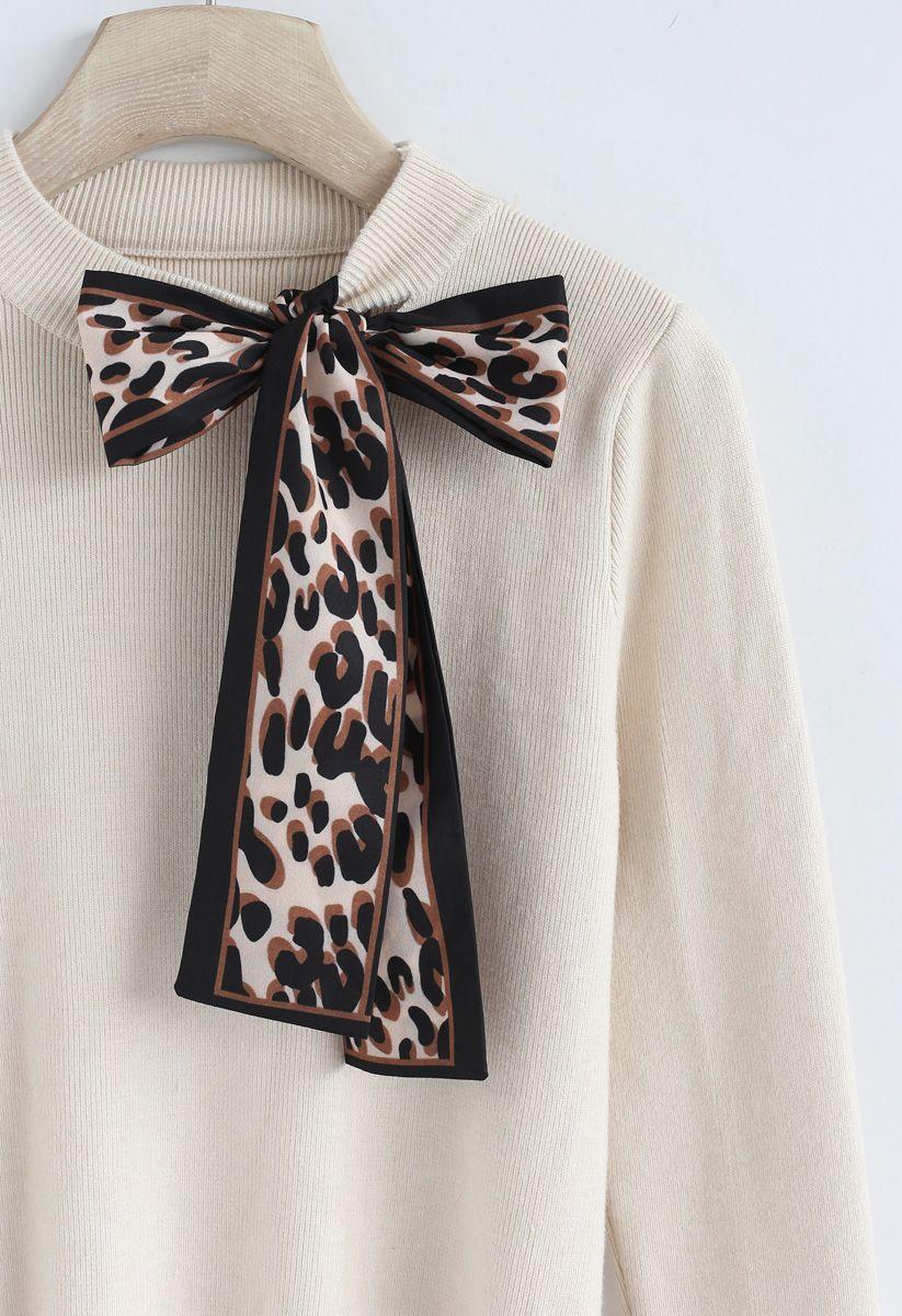 Surpass Basics Leopard Bowknot Knit Top in Cream