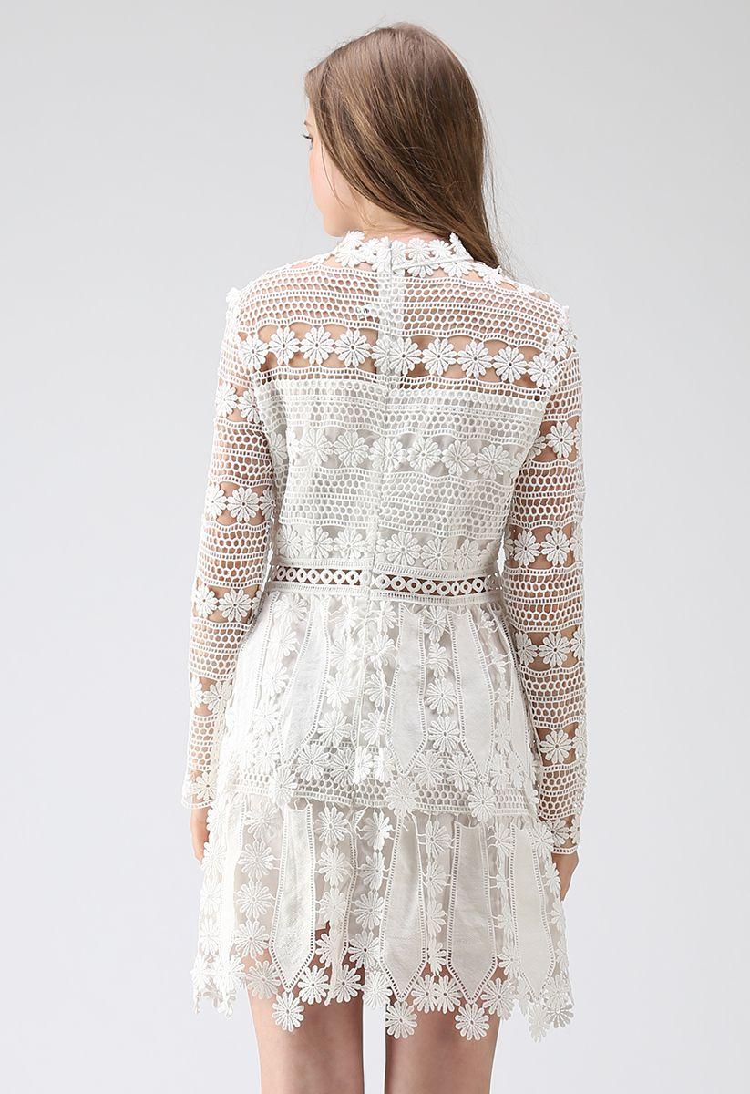 Light of Mind Flower Crochet Dress in White