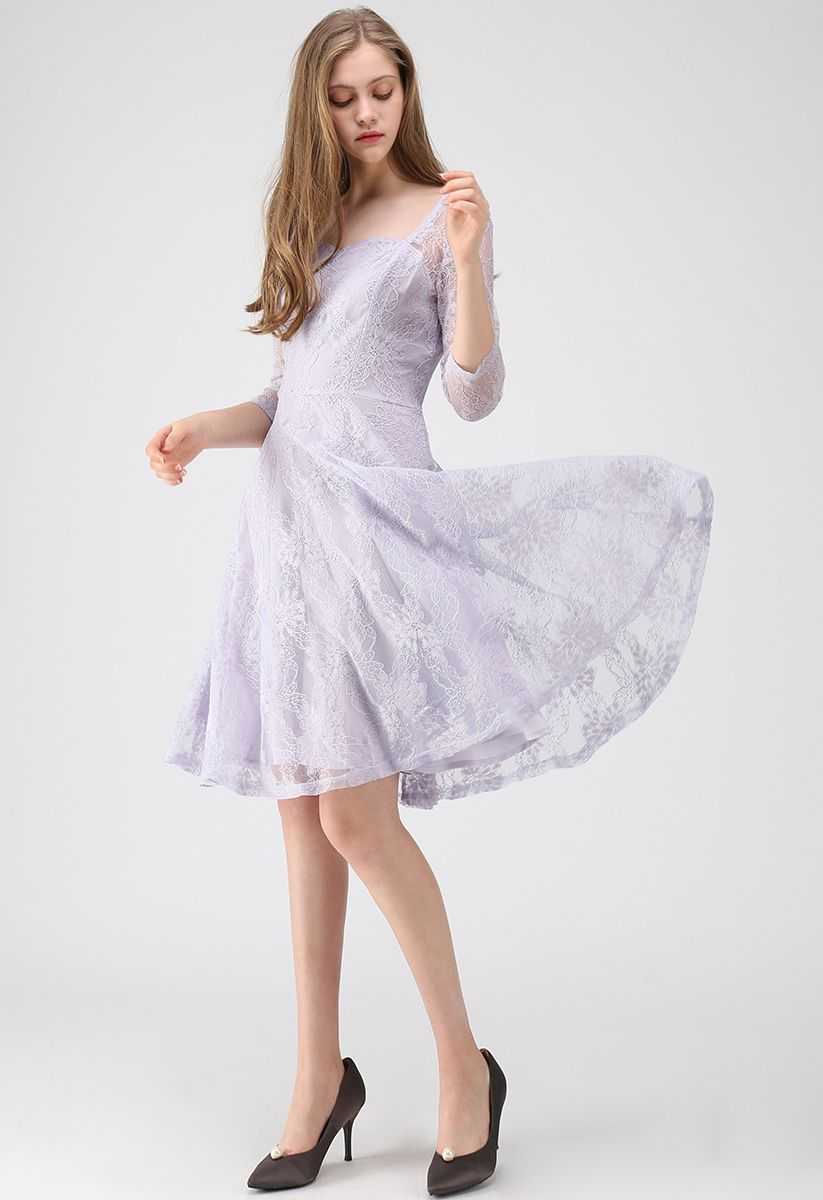 All for You Square Neck Lace Dress in Lilac