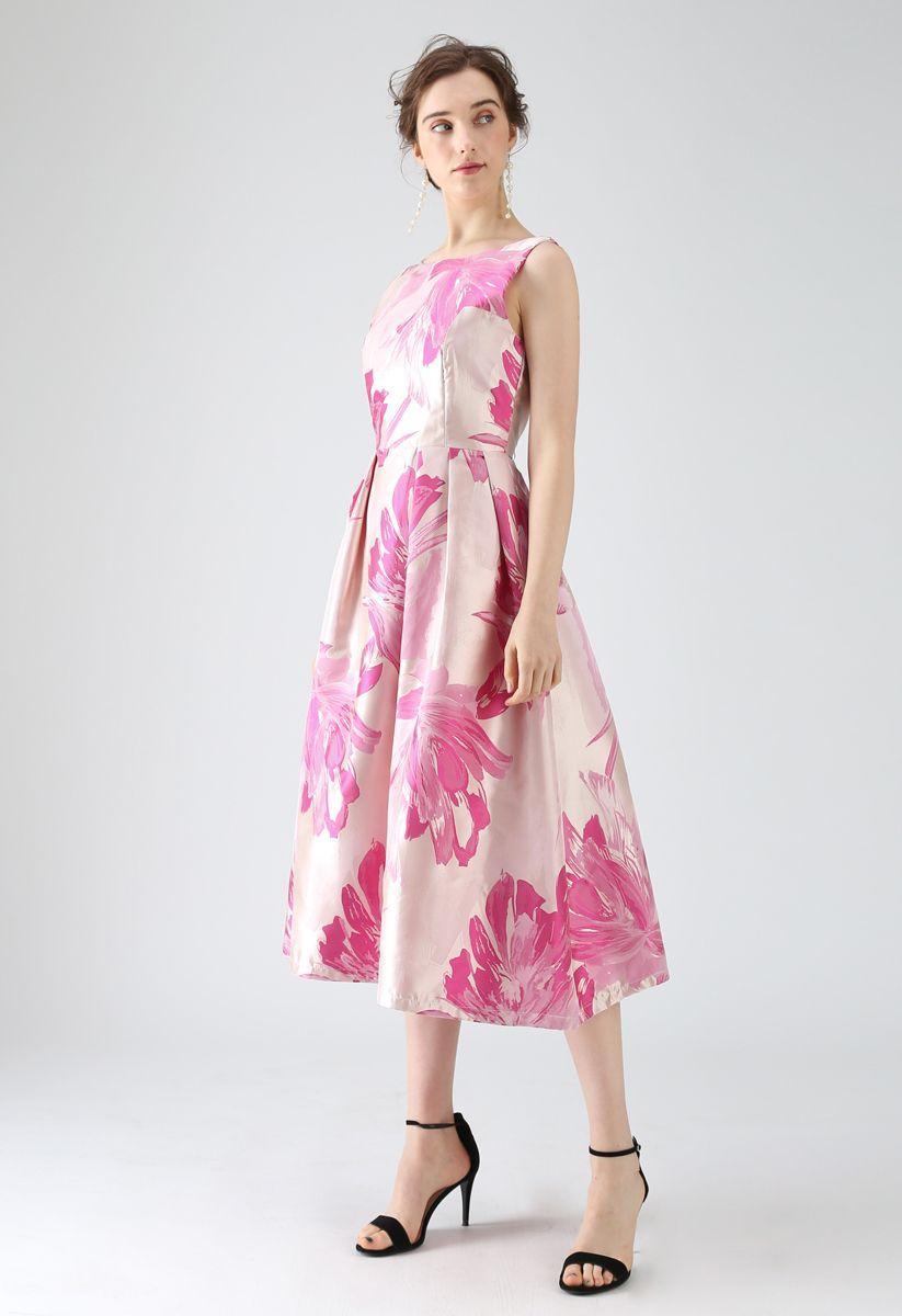 Bauhinia Blossom Jacquard Midi Dress in Pink