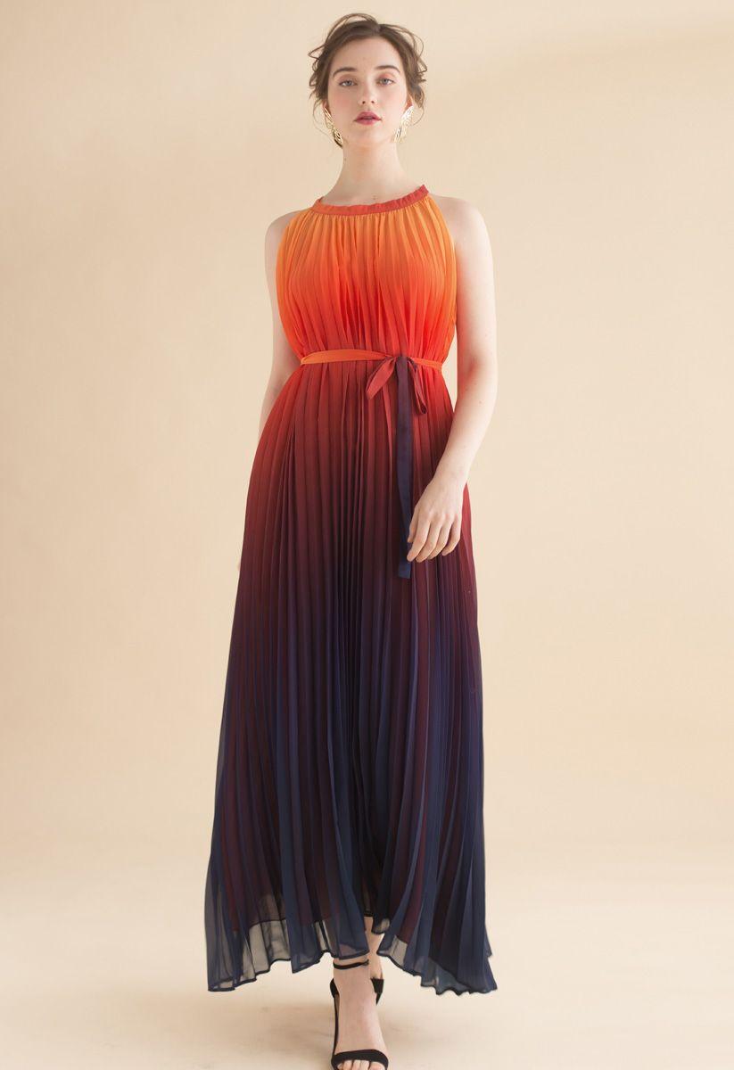 Splendor of the Sunset Gradient Pleated Maxi Dress