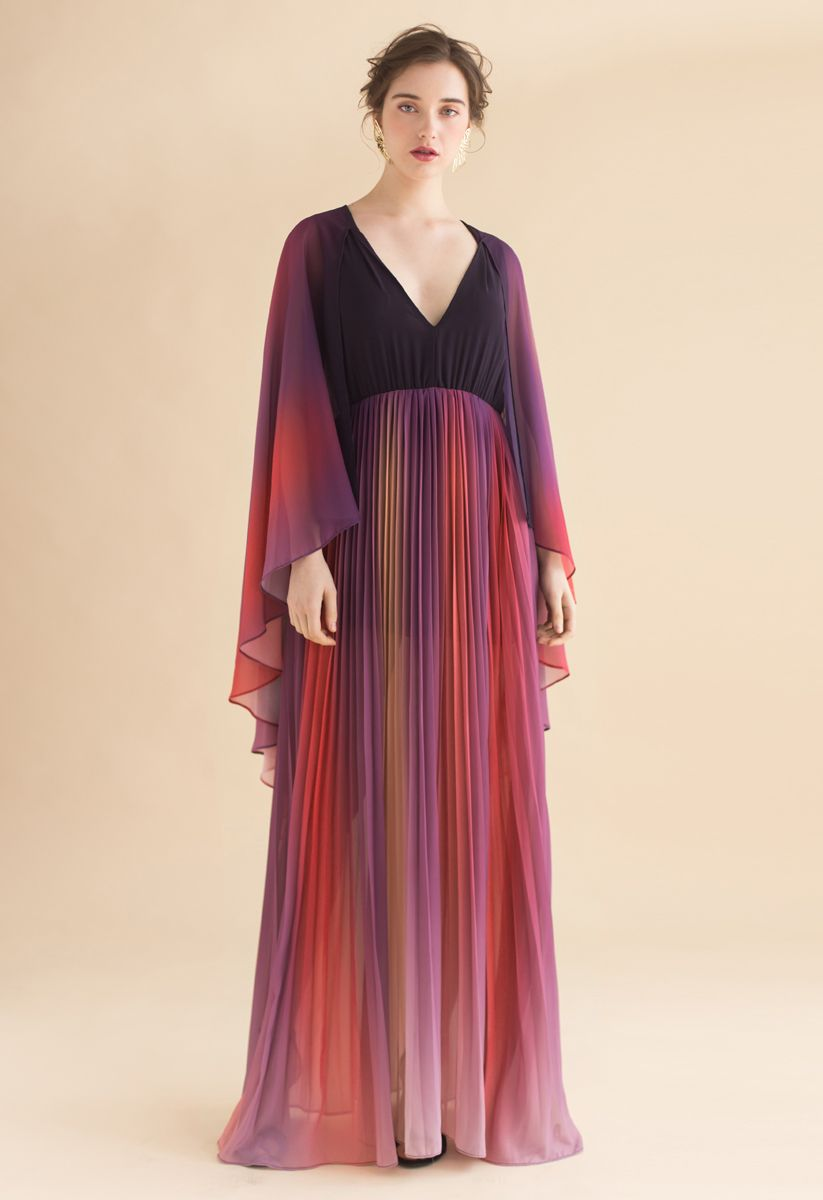 Broadcast Your Elegance Gradient Pleated Maxi Dress