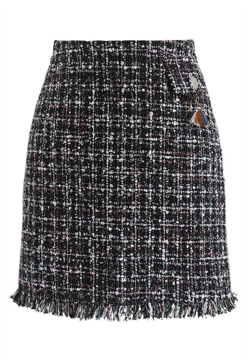 Always Mine Tweed Flap Skirt in Black