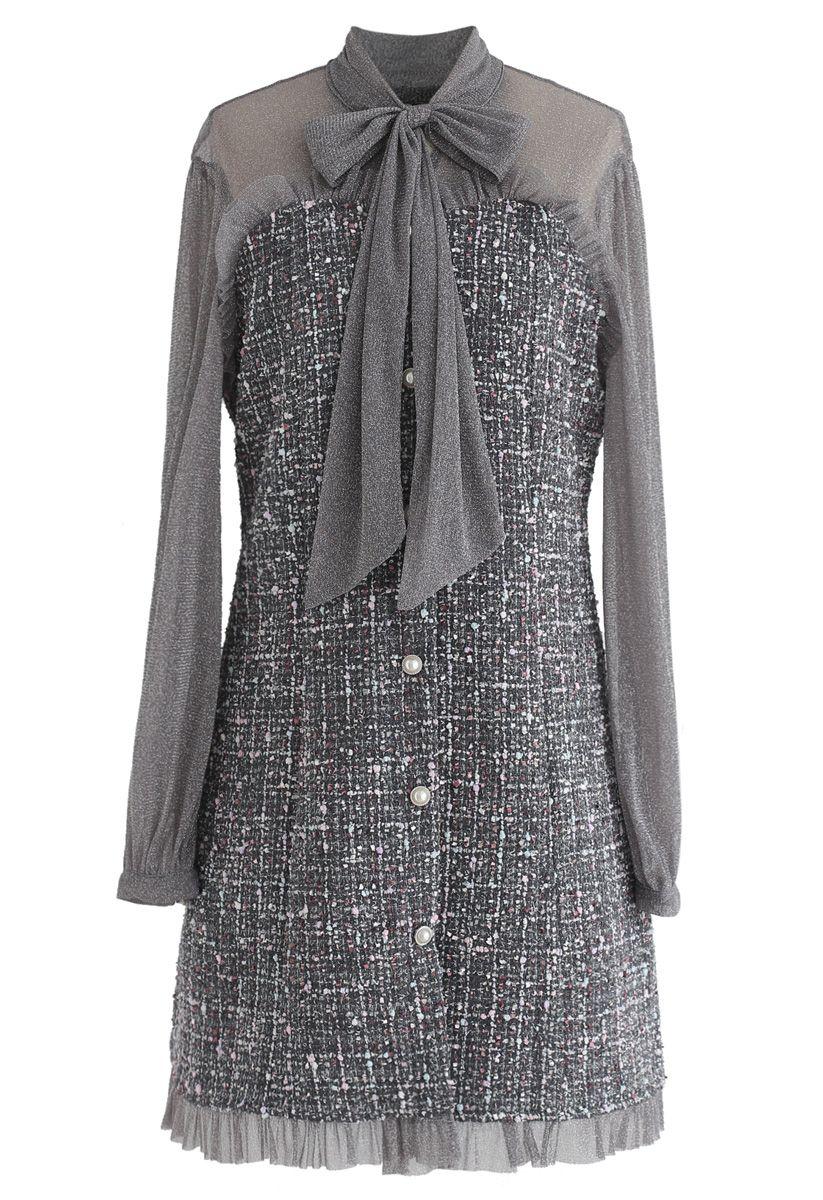 Shimmer Bowknot Mesh Tweed Dress in Grey