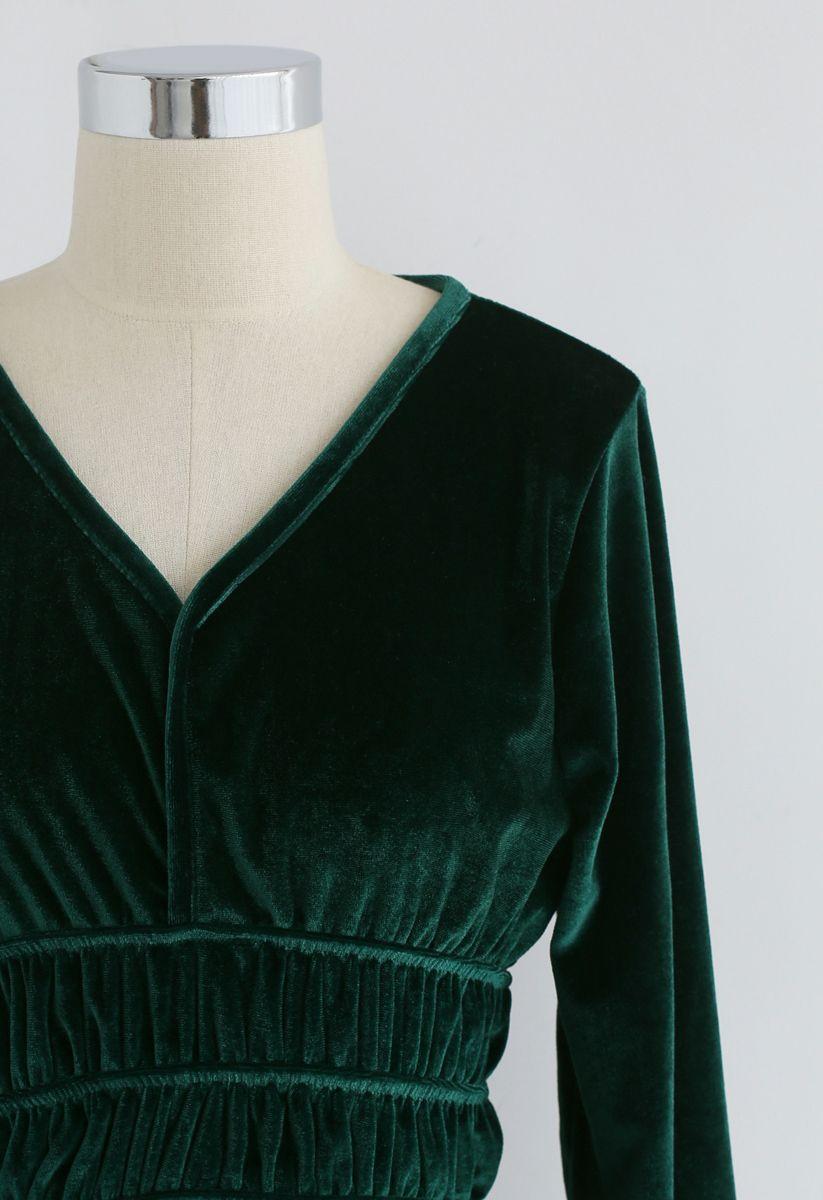 Retro Feeling Peplum Top in Emerald