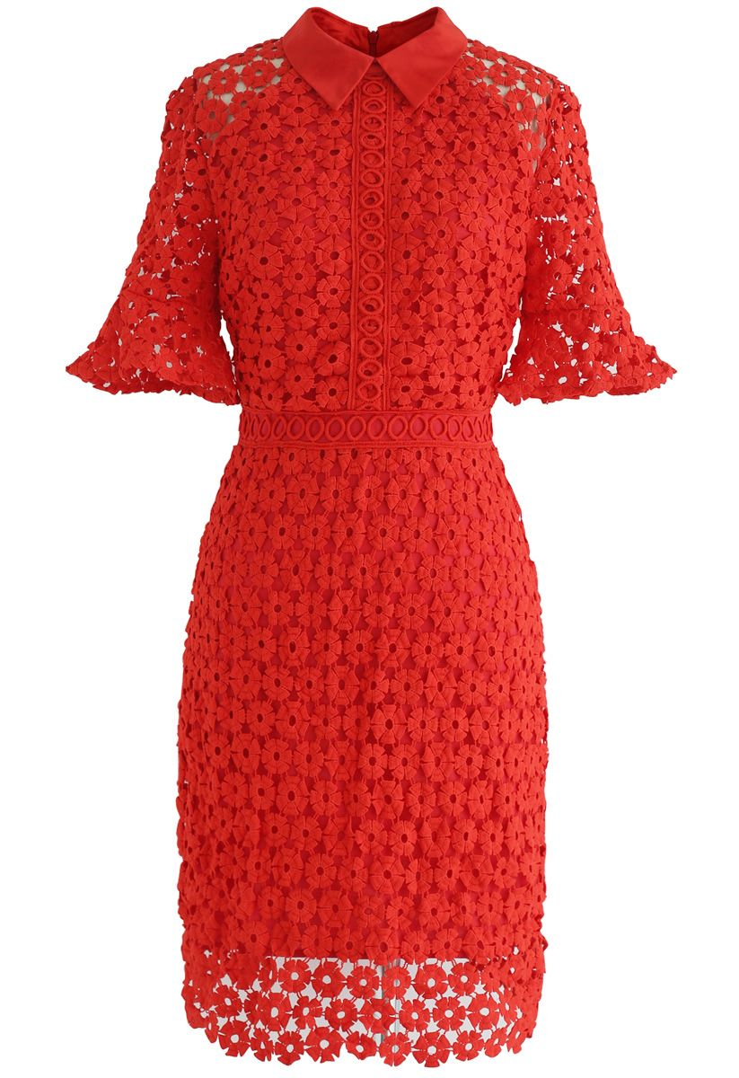 Faith in Elegance Crochet Shift Dress in Red