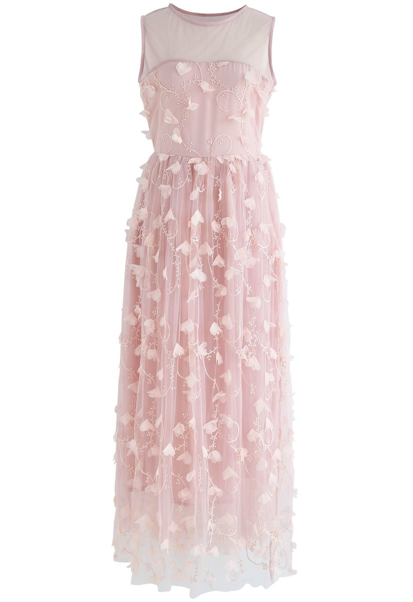 Florescent Dreams Sleeveless Mesh Dress in Pink