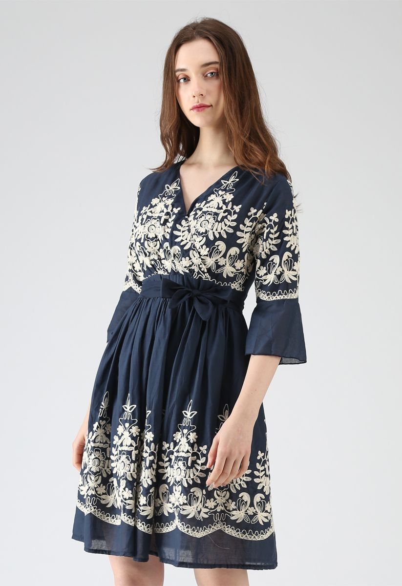 Bloom Merrymaking Embroidered Dress in Navy