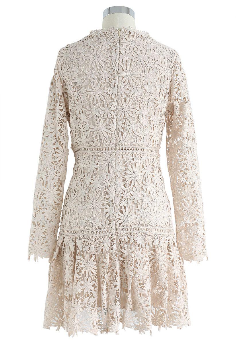Made for Now Floral Crochet V-Neck Dress in Cream
