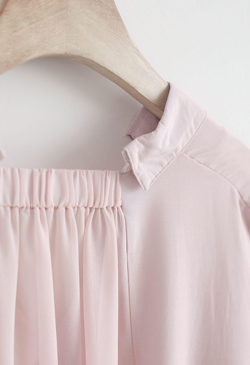 Soft Focus Hi-Lo V-Neck Shirt in Pink