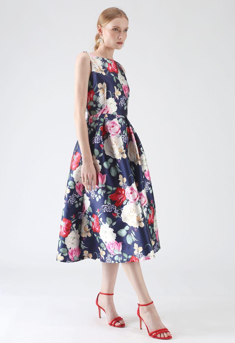 Retro Blossom Sleeveless Printed Dress
