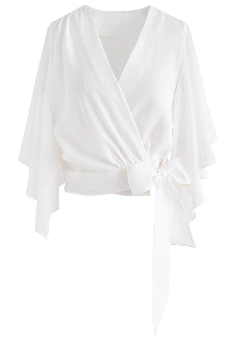 Chic Natural Cropped Cape Top in White