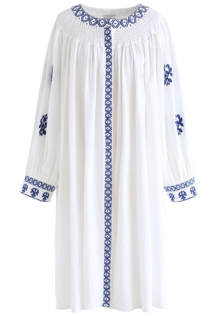 Santorini Blue Embroidered Belted Dress
