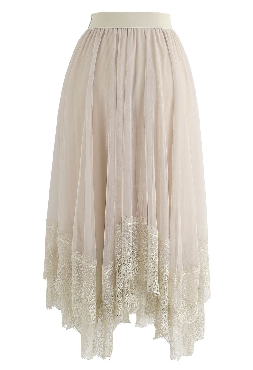 Say Your Name Asymmetric Tiered Lace Mesh Skirt