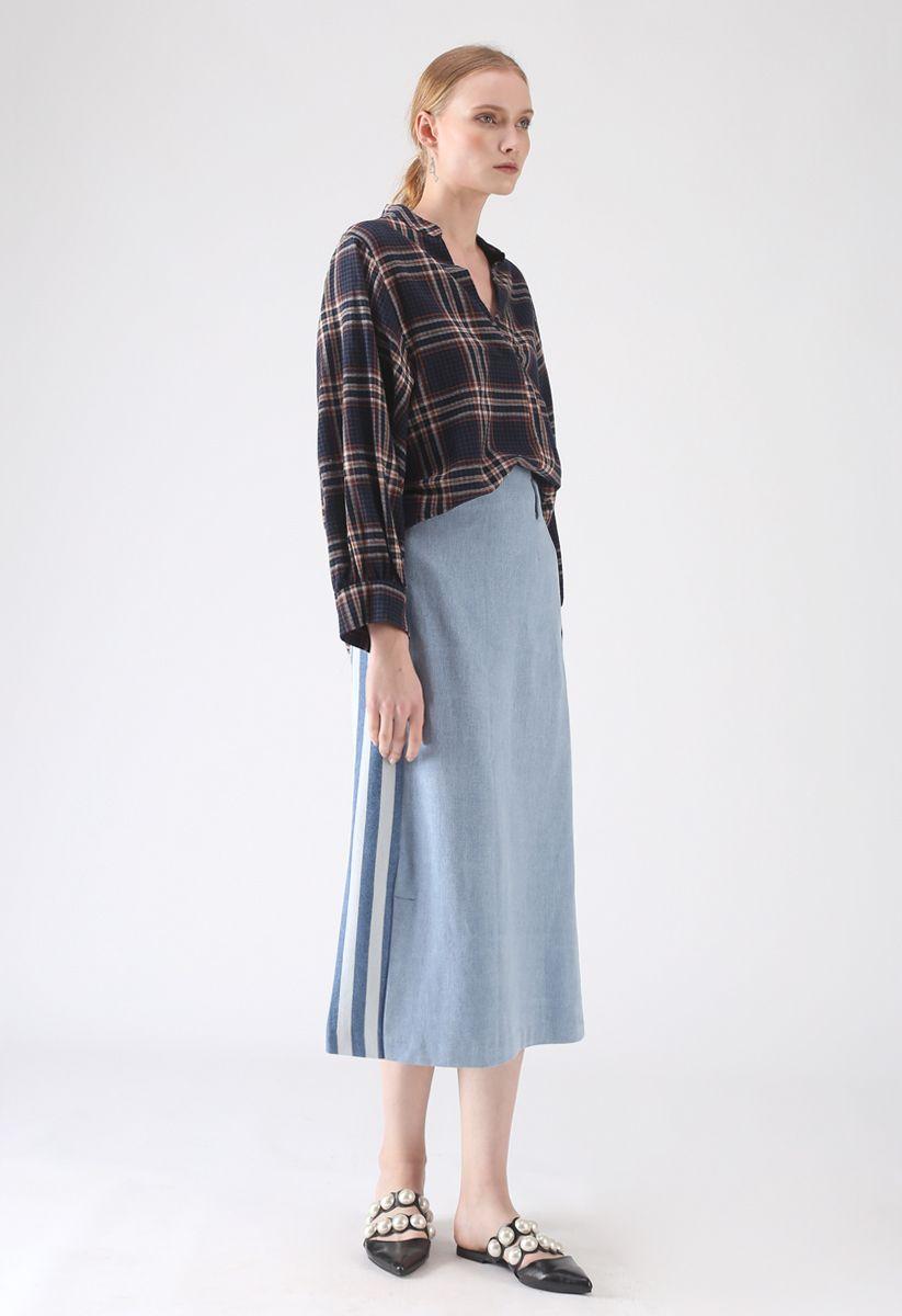 Back to the Stripes Pencil Denim Skirt