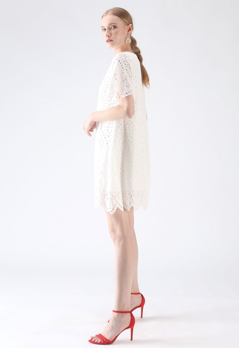 Slow Down Embroidered Eyelet Shift Dress in White