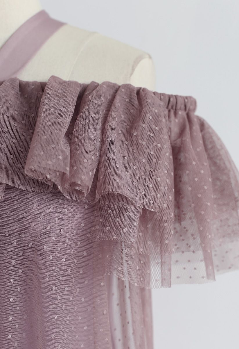 Dolly Coral Halter Off-Shoulder Mesh Dress