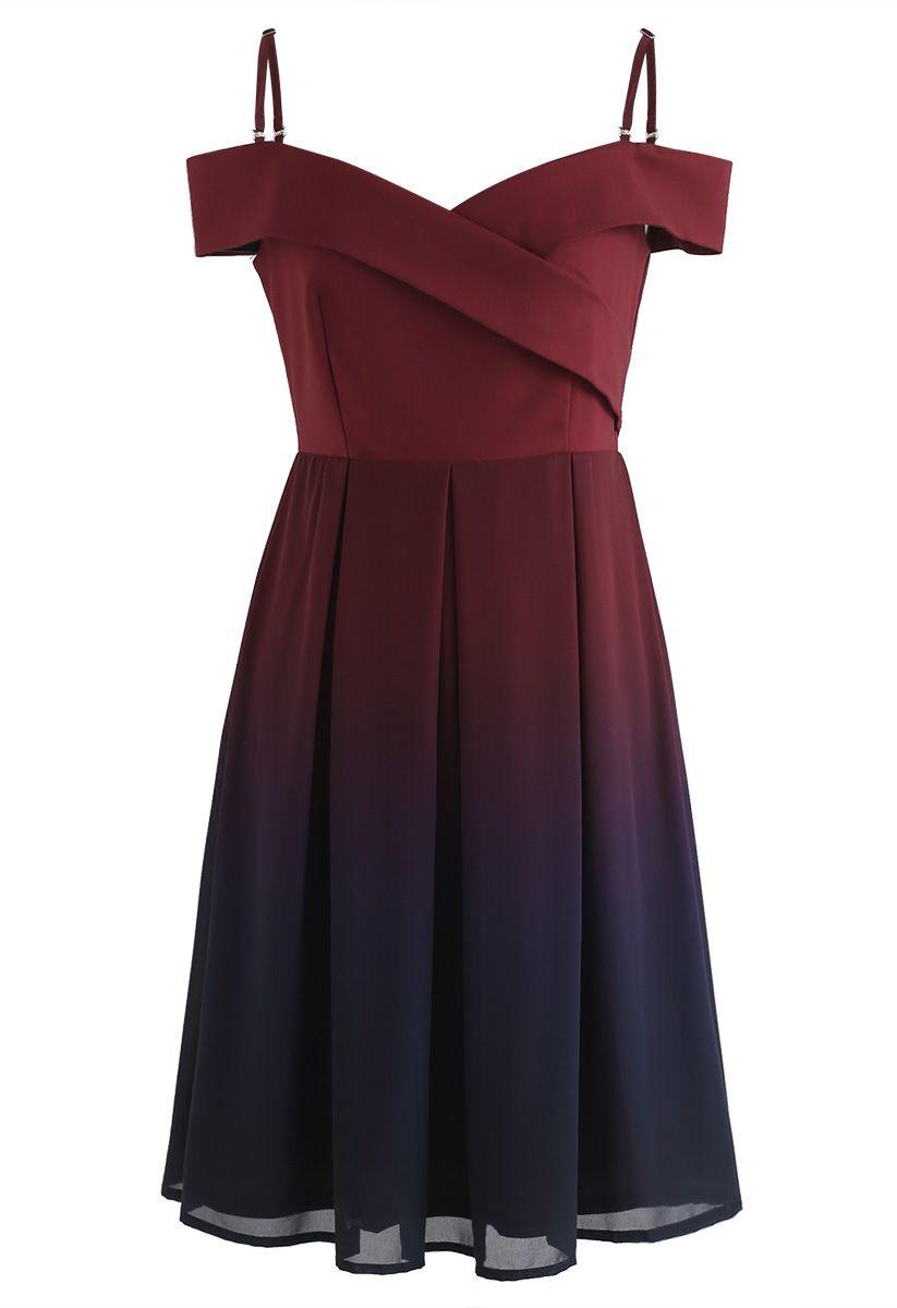 Gradient Revelry Cold-Shoulder Dress in Wine