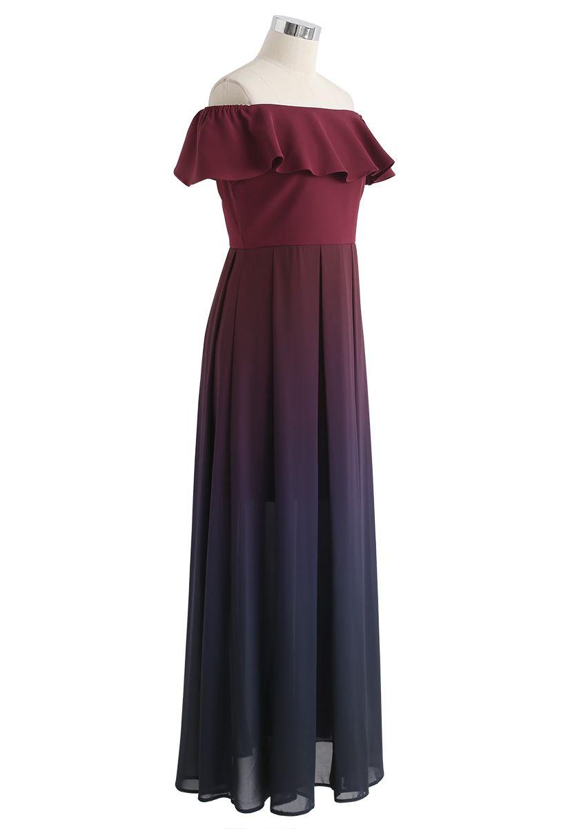 Gradient Revelry Off-Shoulder Dress in Wine