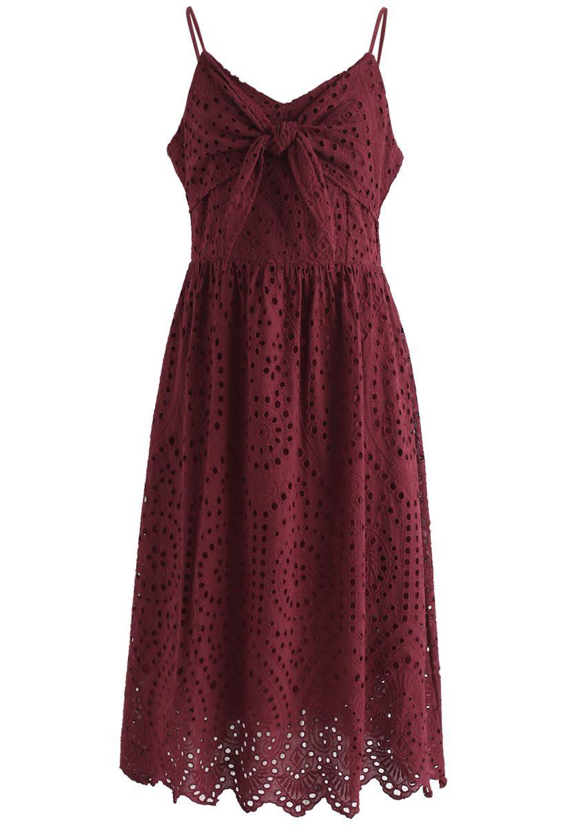 Party Playlist Eyelet Cami Dress in Wine