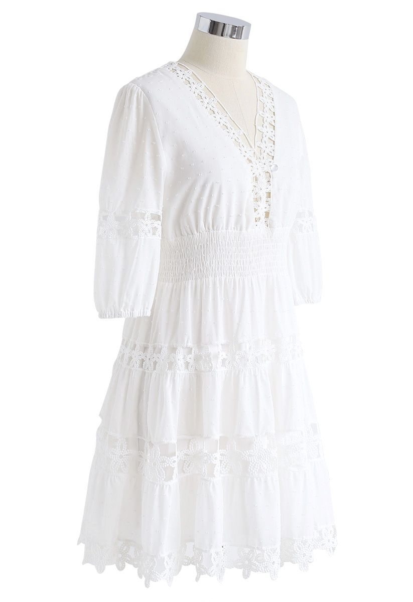 Flower Chains V-Neck Dress