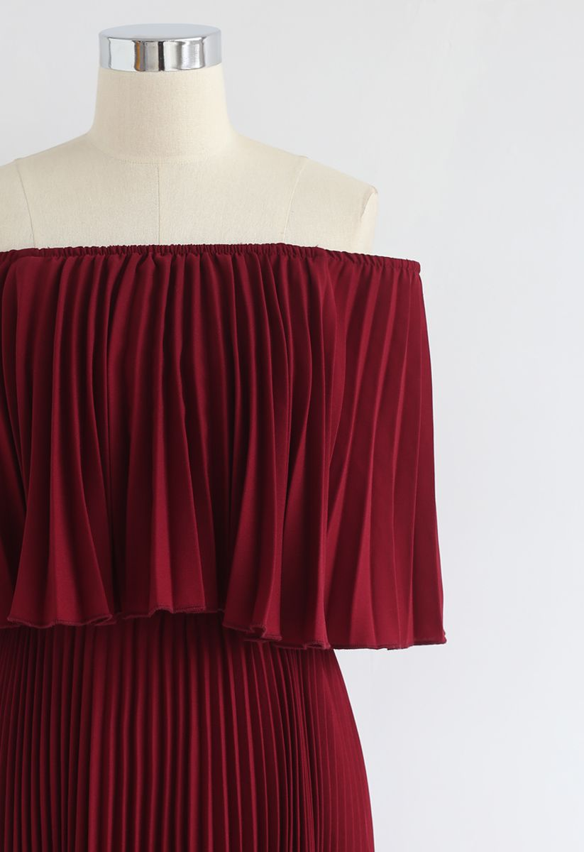 Dancing Till Dawn Off-Shoulder Pleated Maxi Dress in Wine