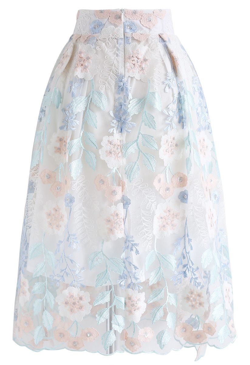 Look at the Flowers Embroidered Mesh Skirt