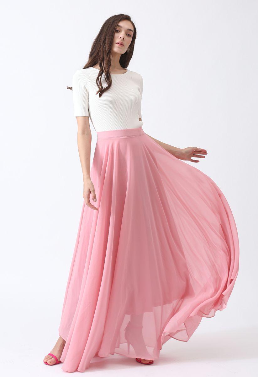 Timeless Favorite Chiffon Maxi Skirt in Pink
