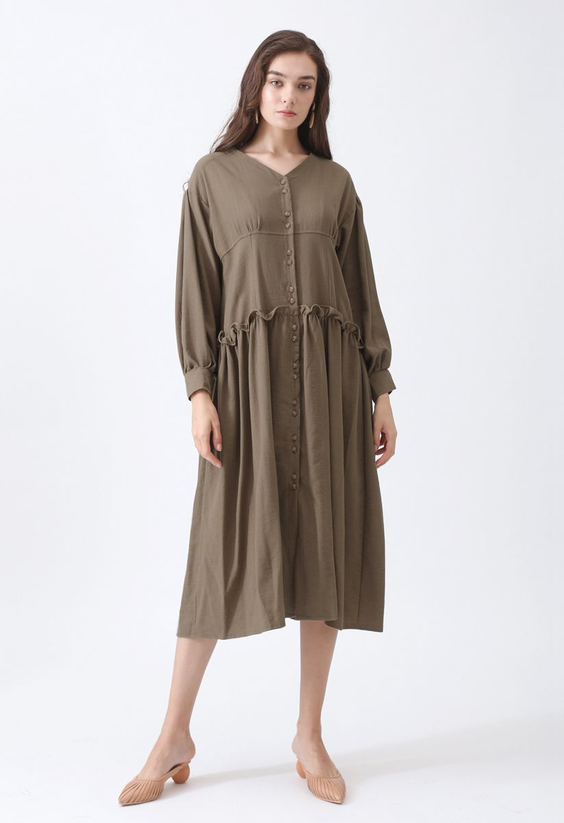 Come Into My Life Button Dress in Brown