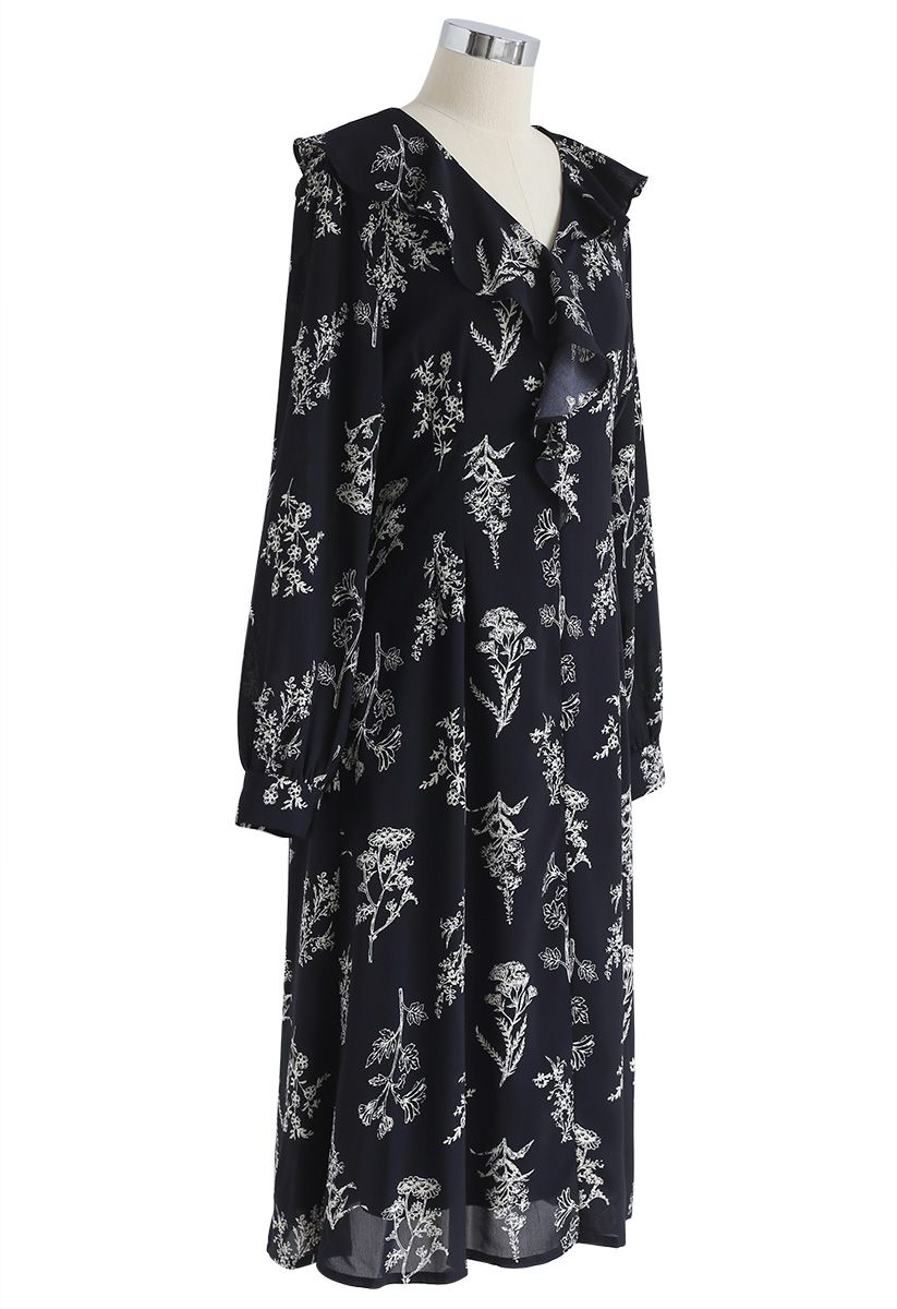 Plants Aplenty Printed Chiffon Dress in Navy