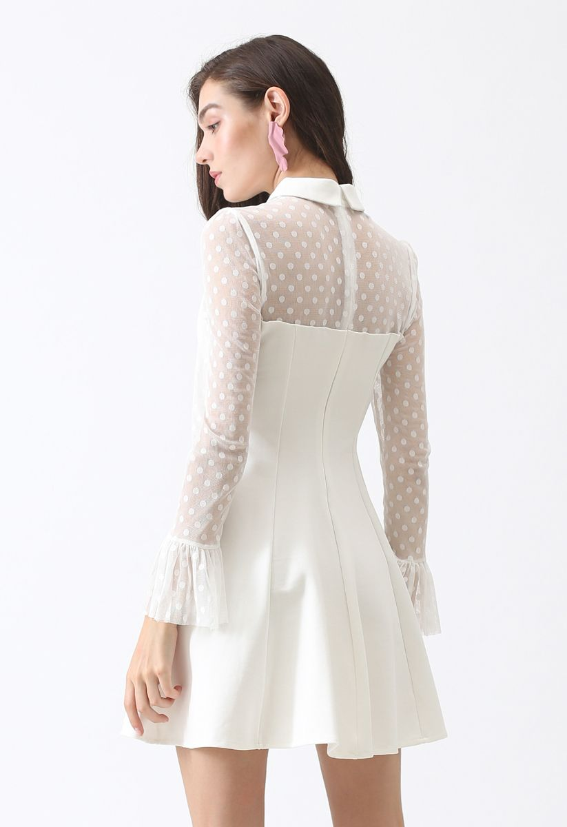 Well Matched Polka Dots Dress in White