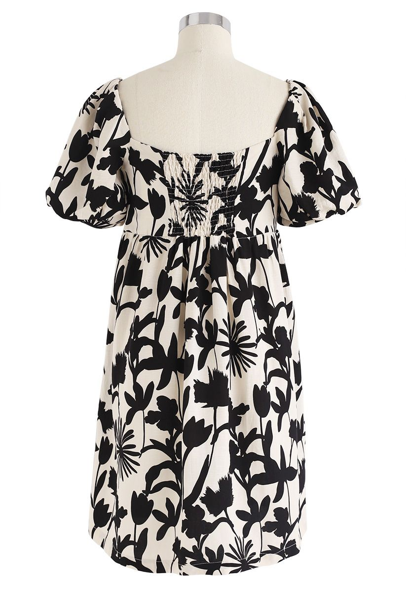 Inky Flower Painting Square Neck Dress