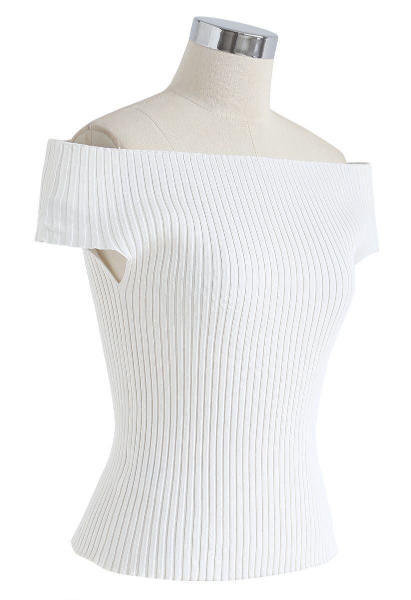 Count on You Off-Shoulder Ribbed Knit Top in White