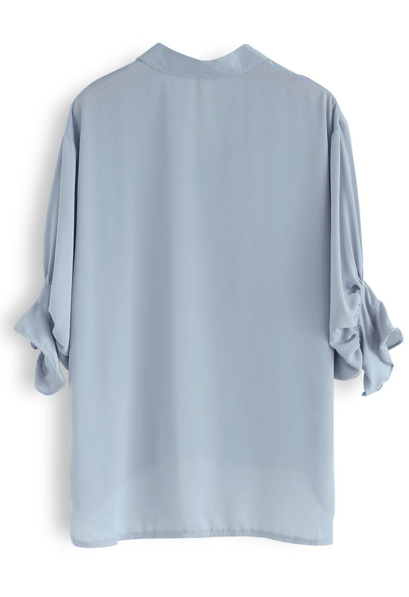 Good Together Hi-Lo Chiffon Shirt in Dusty Blue
