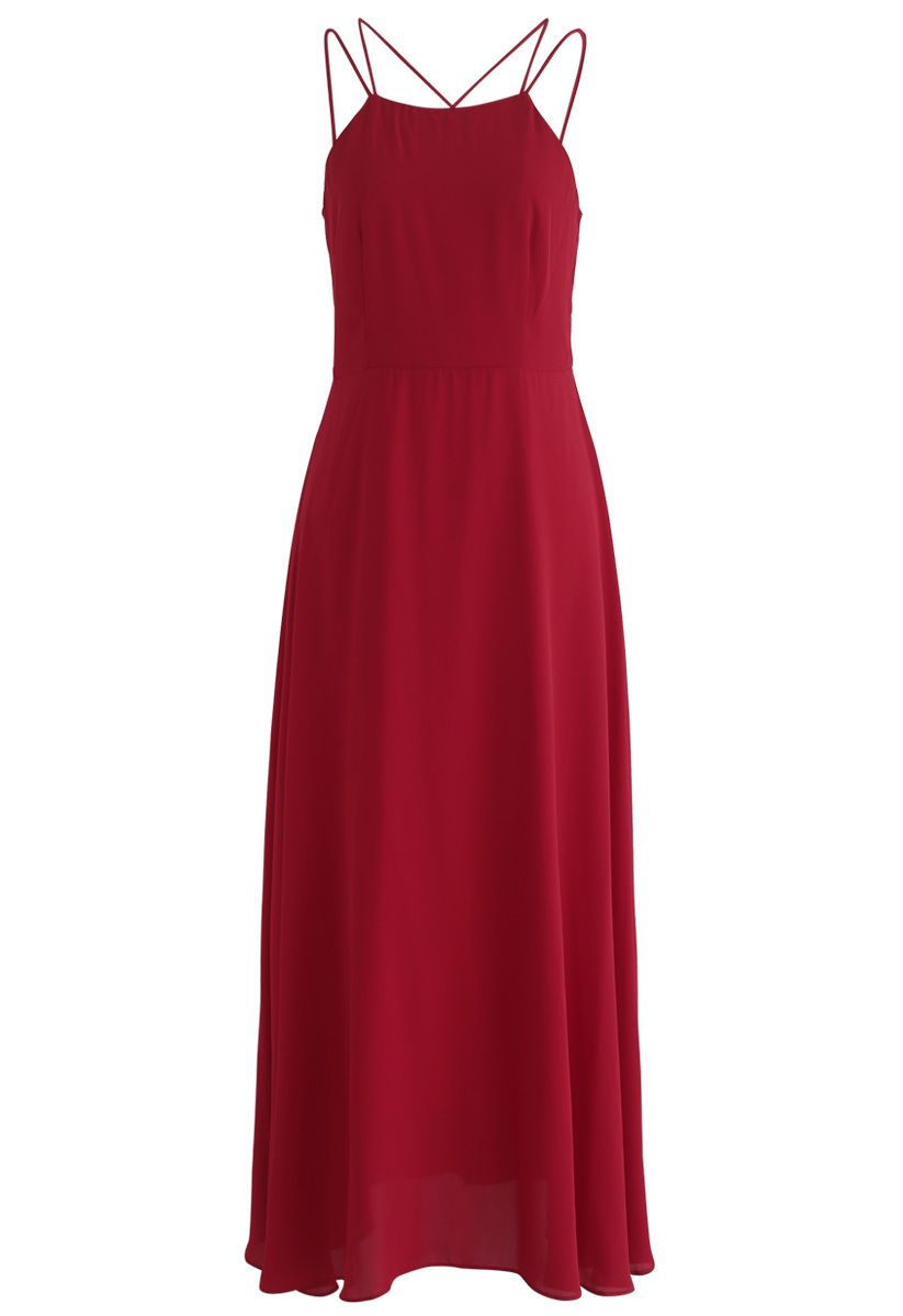 Gorgeous Movement Cross Back Maxi Dress in Red