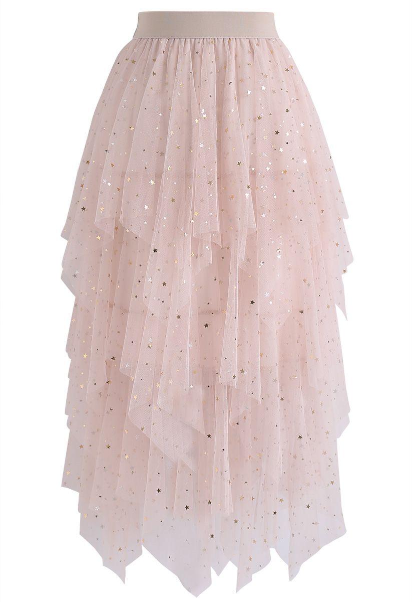 Shooting Stars Asymmetric Tiered Mesh Skirt in Pink