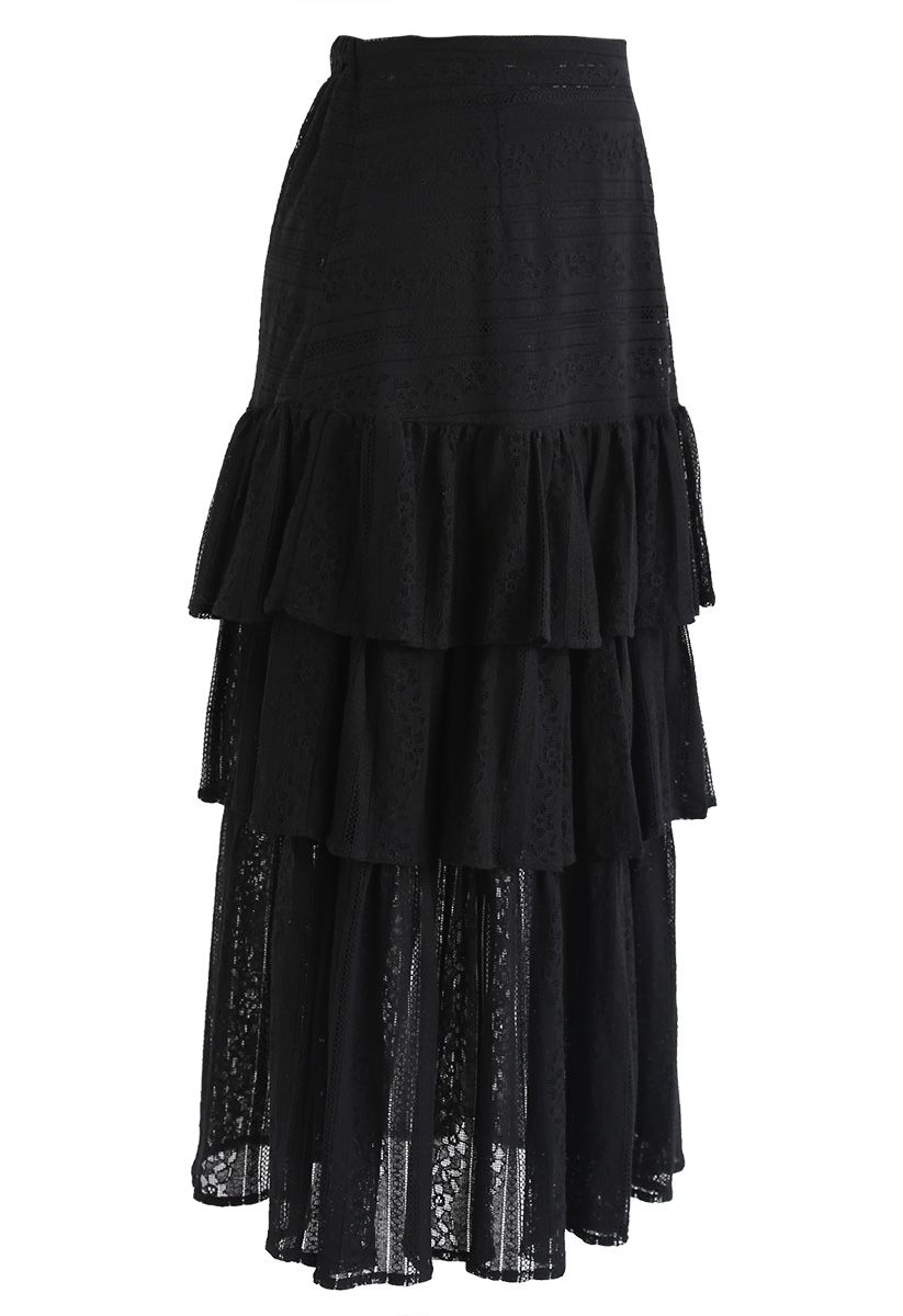 Up All Night Tiered Lace Midi Skirt in Black