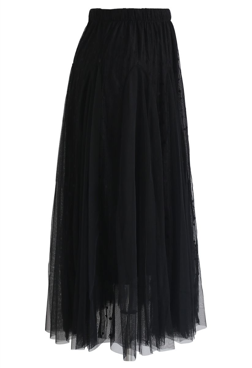 Dotted Love Flare Tulle Midi Skirt in Black