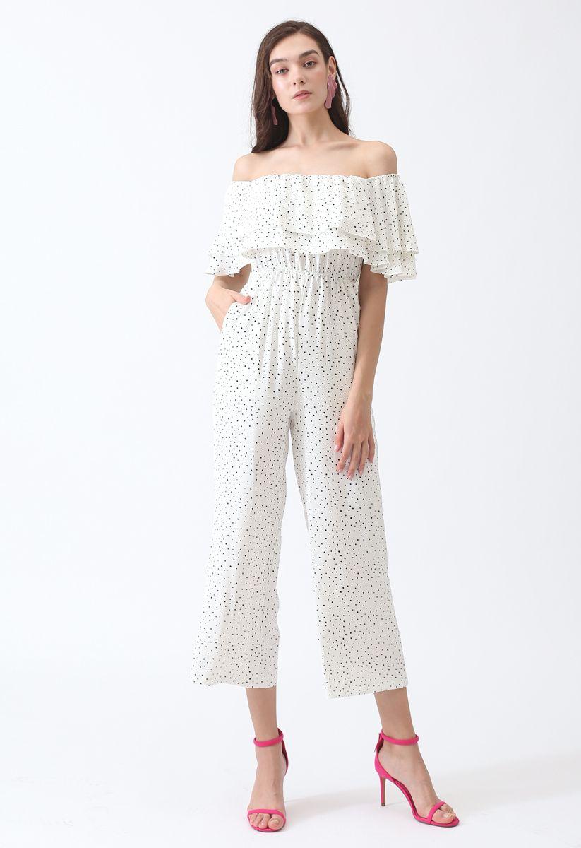 Ever Since Polka Dots Off-Shoulder Jumpsuit in White
