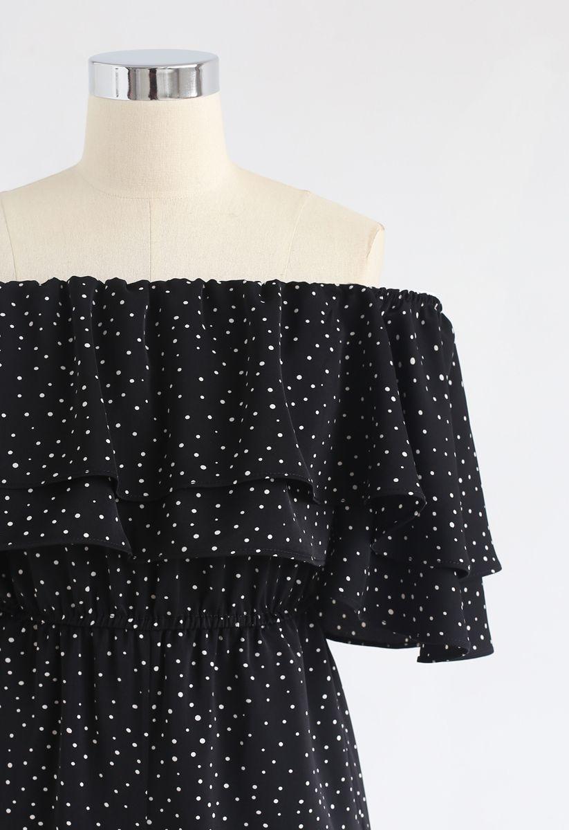 Ever Since Polka Dots Off-Shoulder Jumpsuit in Black