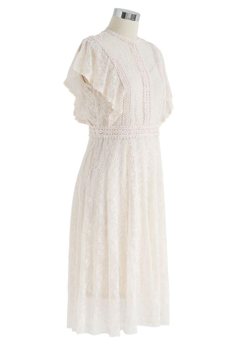 Babysbreath Embroidered Sleeveless Mesh Dress in Cream