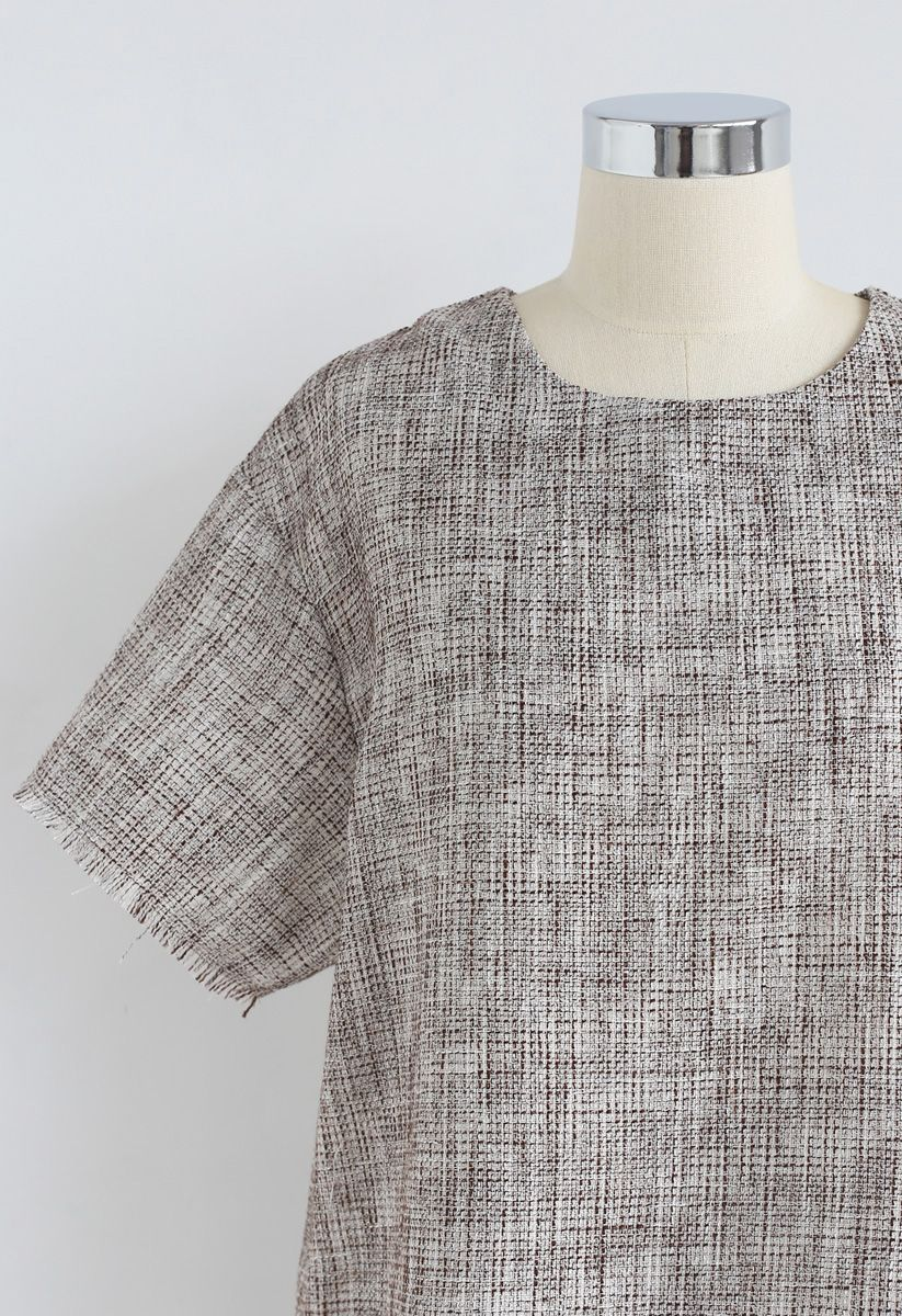 Precious Moment Textured Top and Skirt Set in Brown