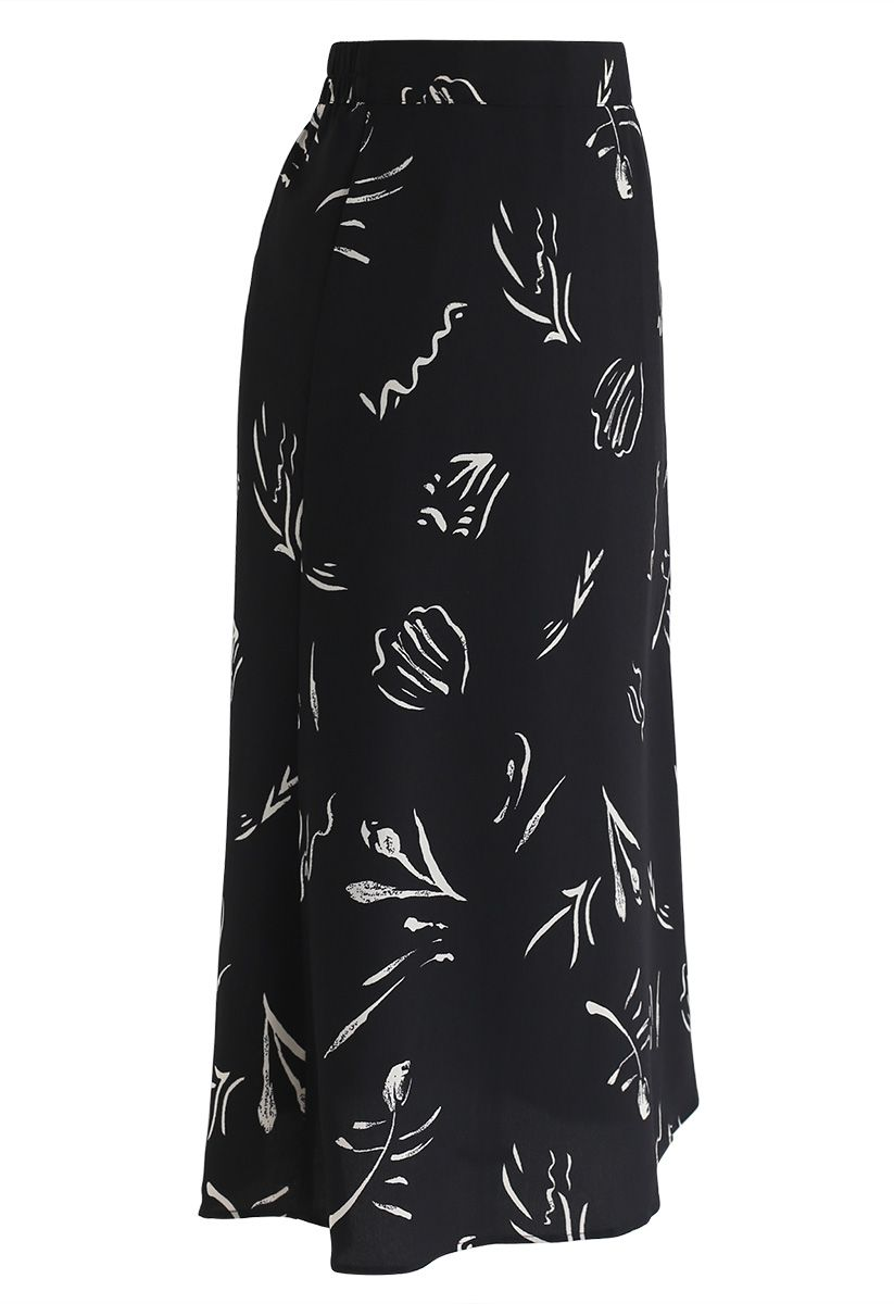 Never Too Late A-Line Chiffon Skirt in Black