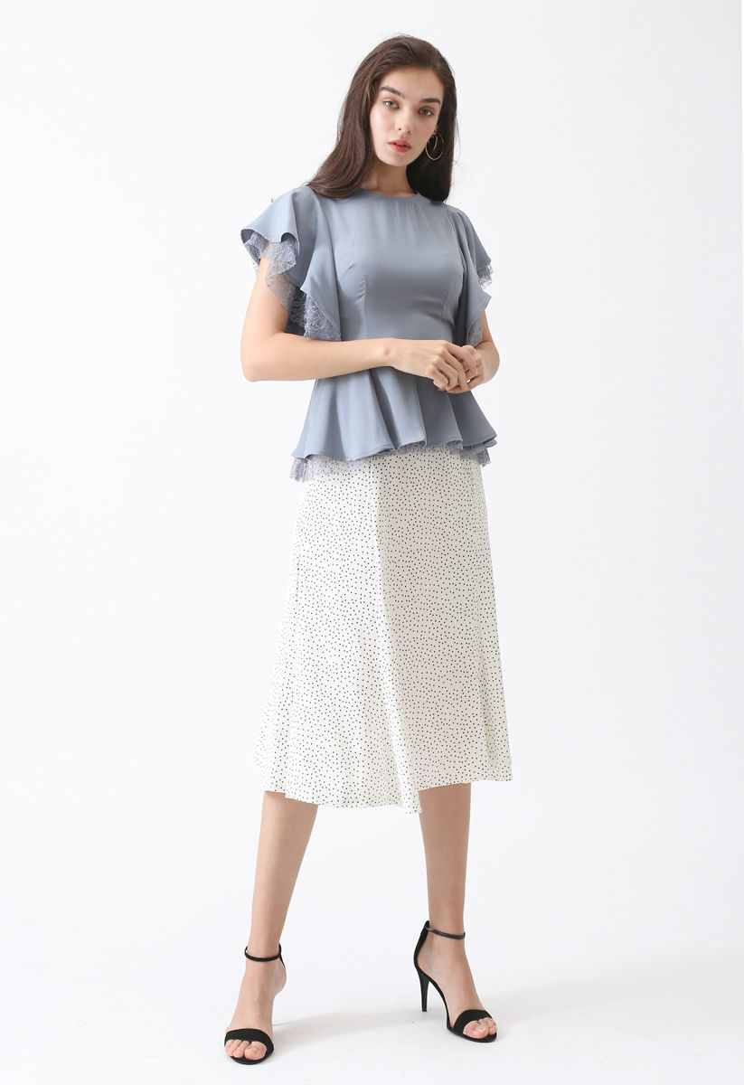 Knowing You Dots Frilling Skirt in White
