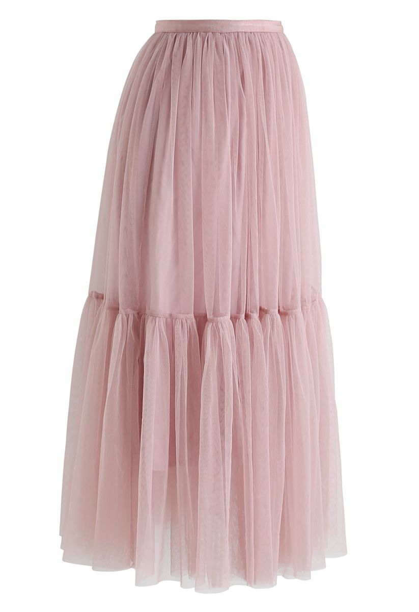 Can't Let Go Mesh Tulle Skirt in Pink